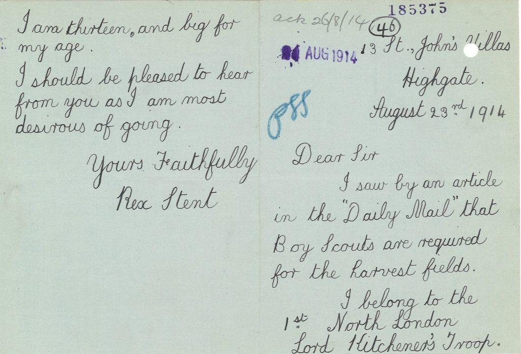 Letter; Scouts; First World War; Harvest; France;