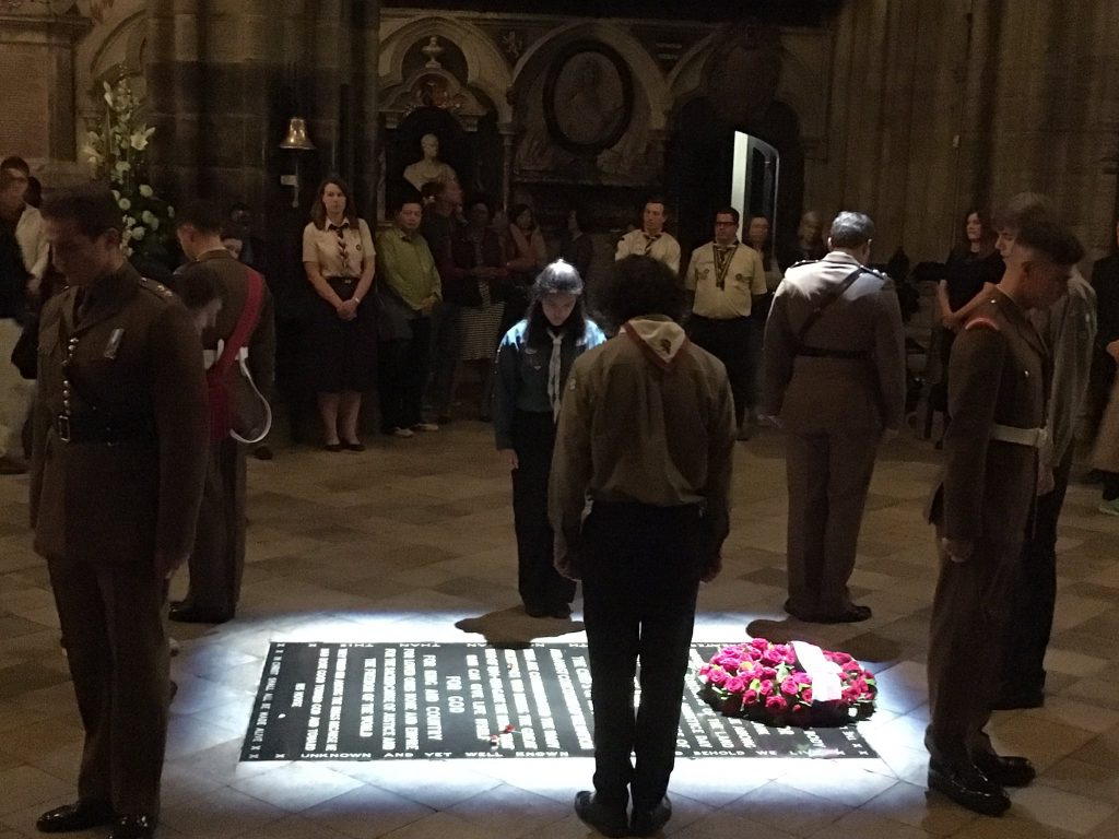 Westminster Abbey; Somme100; Scouts remembrance; Roland Philipps;
